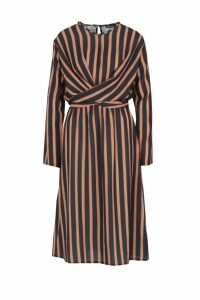 Womens Woven Stripe Tie Front Midi Dress - black - 10, Black
