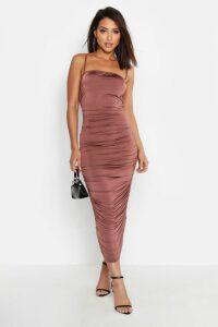 Womens Strappy Square Neck Ruched Midaxi Dress - beige - 14, Beige