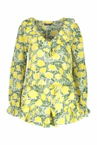 Womens Floral Ruffle Detail Short Co-Ord Set - yellow - 12, Yellow