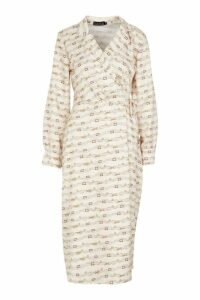 Womens Woven Wrap Chain Colour Block Shirt Maxi Dress - beige - 10, Beige