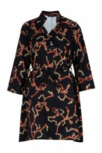 Womens Woven Chain Print Belted Shirt Dress - black - 14, Black