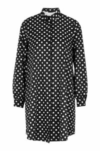 Womens Woven Spot Shift Shirt Dress - black - 10, Black
