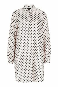 Womens Woven Spot Shift Shirt Dress - white - 8, White