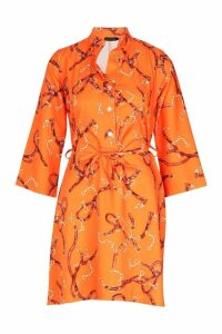 Womens Woven Chain Print Belted Shirt Dress - orange - 10, Orange