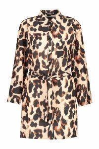 Womens Leopard Woven Shirt Dress - multi - 16, Multi