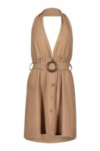 Womens Linen Look O-Ring Buckle Shift Dress - brown - 8, Brown