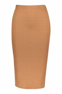 Womens Jumbo Rib Midi Skirt - beige - 14, Beige