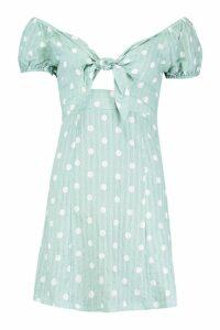 Womens Knot Front Sweetheart Neck Mini Dress - green - 16, Green