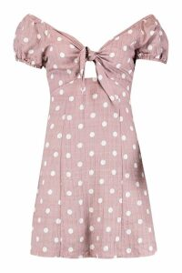 Womens Knot Front Sweetheart Neck Mini Dress - pink - 10, Pink