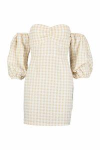 Womens Gingham Sweetheart Off The Shoulder Mini Dress - beige - 16, Beige