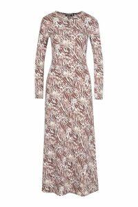 Womens Neutral Animal Print Asymetric Midi Skater Dress - beige - 12, Beige