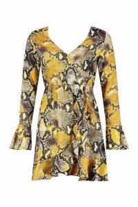 Womens Woven Snake Print Skater Dress - yellow - 12, Yellow