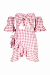 Womens Knot Front Gingham Ruffle Hem Mini Dress - pink - 14, Pink