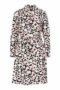 Womens Woven Tie Belt Leopard Mini Shirt Dress - Pink - 10, Pink