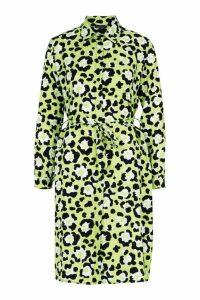 Womens Woven Tie Belt Leopard Mini Shirt Dress - green - 10, Green