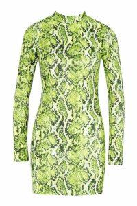 Womens Green Snake Print High Neck Mini Dress - 14, Green