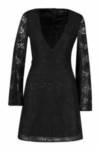 Womens Lace Plunge Skater Dress - black - 8, Black