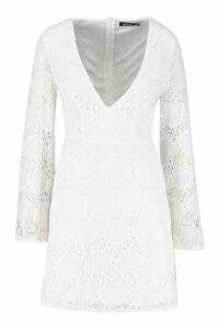 Womens Lace Plunge Skater Dress - white - 8, White