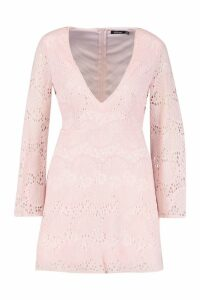 Womens Lace Plunge Skater Dress - Pink - 10, Pink