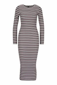 Womens Stripe Ribbed Long Sleeve Midaxi Dress - red - 14, Red