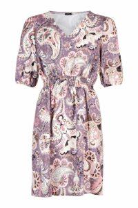 Womens Boho Paisley Print Shirred Waist Skater Dress - purple - 12, Purple