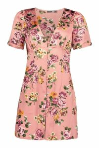 Womens Satin Floral Button Tea Dress - pink - 12, Pink