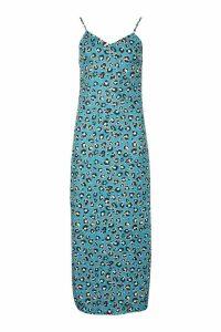 Womens Woven Leopard Maxi Slip Dress - blue - 14, Blue