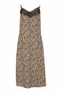 Womens Woven Lace Leopard Slip Dress - black - 8, Black