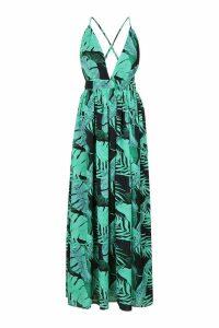 Womens Plunge Front Palm Print Maxi Dress - black - 16, Black