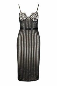 Womens Lace Cup Striped Mesh Midi Bodycon Dress - black - S, Black