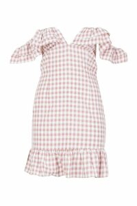 Womens Gingham Ruffle Detail Mini Dress - Beige - 16, Beige
