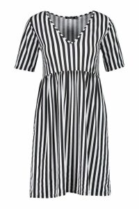 Womens Mono Stripe Short Sleeve Smock Dress - white - 16, White