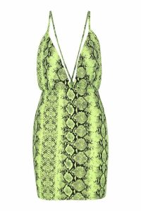 Womens Neon Snake Extreme Plunge Bodycon Dress - green - 14, Green
