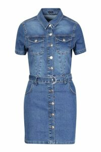 Womens Denim Belted Short Sleeve Dress - blue - L, Blue