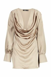 Womens Deep Cowl Satin Shift Dress - beige - 8, Beige