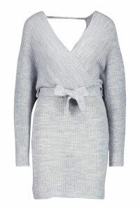 Womens Wrap Knitted Dress - grey - M/L, Grey