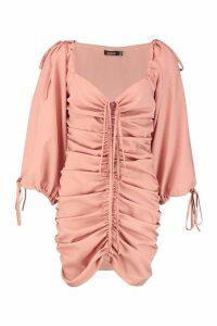 Womens Ruched Front Volume Sleeve Mini Dress - Beige - 14, Beige