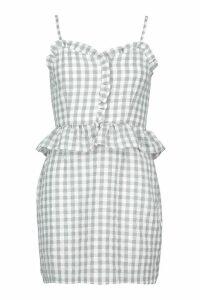 Womens Ruffle Detail Gingham Mini Dress - grey - 14, Grey