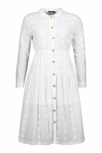 Womens Button Front Broderie Anglais Shirt Dress - white - 12, White