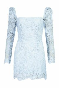 Womens Corded Lace Square Neck Dress - blue - 14, Blue