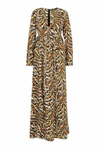 Womens Button Front Tiger Print Thigh Split Maxi Dress - beige - 14, Beige