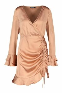 Womens Rouched Front Flared Sleeve Wrap Dress - beige - 14, Beige