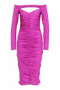 Womens Off The Shoulder Ruched Detail Midi Dress - purple - 10, Purple