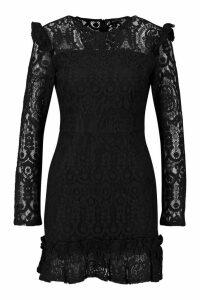 Womens Lace Frill Detail Mini Dress - black - 12, Black