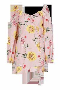 Womens Ruffle Button Front Tea Dress - Pink - 8, Pink