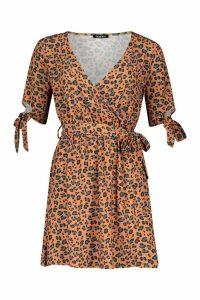 Womens Leopard Print Tie Sleeve Tea Dress - orange - 16, Orange
