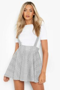Womens Dogtooth Check Pinafore Skirt - black - 12, Black
