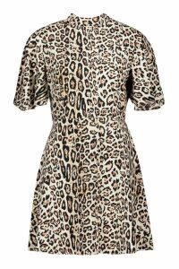 Womens Leopard High Neck Skater Dress - multi - 10, Multi