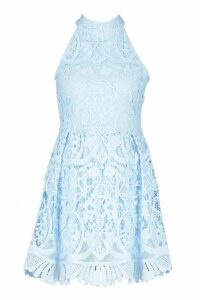 Womens Lace High Neck Skater Dress - blue - 14, Blue