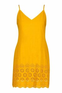 Womens Embroidered Tie Cami Slip Dress - yellow - 12, Yellow